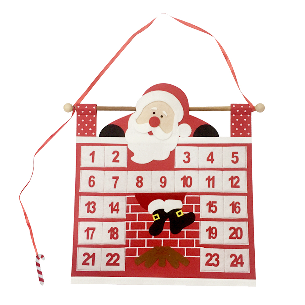Christmas advent calendar with Santa and fireplace