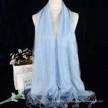 Двойной слой сплошной цвет вискоза с шелковый шарф для вечернее платье