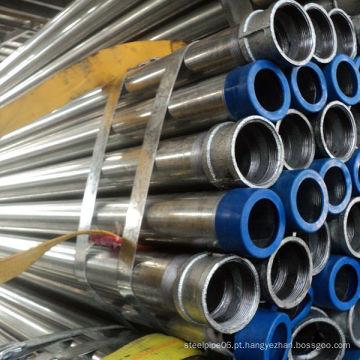 Tubos de aço redondos galvanizados imersos a quente com extremidades roscadas