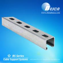 tamanho de canal de suporte de alumínio perfurado c