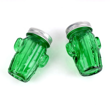 recycled glass cup 160ml cactus shaped glass mason jar with metal lid