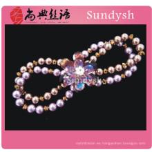 antigüedad fornida de la flor de la perla de imitación de la manera púrpura hecha a mano de piedras preciosas de piedra natural pulseras de estiramiento de cristal al por mayor