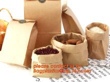 70g food grade bruin kraft papieren zak met aangepaste logo afdrukken, knijpen onderkant papieren zak, vetvrij papier tas met Logo Prin