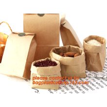 70g food grade brown kraft paper bag with customized logo printing, Pinch Bottom Paper Bag, Greaseproof Paper Bag with Logo Prin