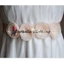 Изысканный искусственные Кристалл ремень горный хрусталь жемчужное бисероплетение камни свадебное платье цветок створки формальной свадьбы вечернее платье ремень
