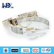 2015 New fashion Pierced silver and golden metal belt with chain