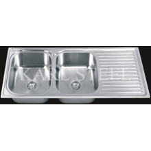 Stainless Steel Double Sink With Drain (11248)