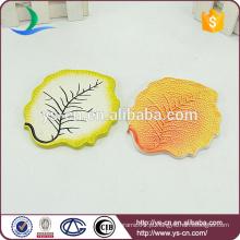 Placa de porcelana folha amarela com veia clara