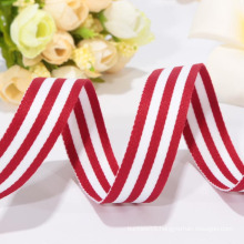 high quality red and white ribbon, woven ribbon,polyester ribbon
