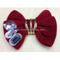 Red Plush Flower Shoe Clips with Bowknot Design and Crystal Stones Trimming