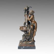 Figura clásica estatua de la mujer de agua de escultura de bronce, M. Mathurin TPE-234