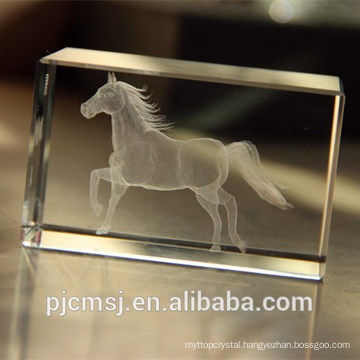 laser engarved heavy weight crystal glass with animal figure
