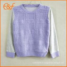 Pull tricoté de pull de cou de la mode O pour des filles avec le fil de boucle