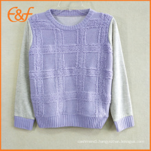 Fashion O Neck Knitted Pullover Sweater For Girls With Loop Yarn