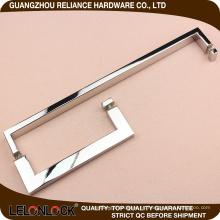Diseño cuadrado Puerta de vidrio y madera Puerta de acero inoxidable cepillado Perilla a ras de puerta Tirador de mano