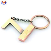 Metal die cast custom logo letter keychain