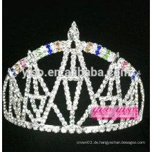 """Exquisit 3 """"hohe Regenbogen Schloss Design Kristall Tiara"""