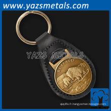 Porte-clés en cuir de buffle