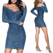 Fancy Good Quality Bodycon Club off The Shoulder Fashion Dresses 2021 Night Wear Sexy Denim Dress Women