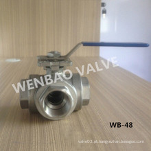 Válvula de esfera de aço inoxidável CF8m de três vias T-Port