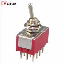 MTS-4 6MM 4PDT Latching Interrupteur à bascule miniature ON OFF ON 12Pin