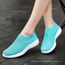 Plus Size 46 Breathable Mesh Sneakers Women Slip on flexible  Ladies Casual Running Shoes Woman Knit Sock Shoes Flats