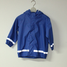 Sapphire Blue Solid PU Reflective Rain Jacket for Children/Baby Set