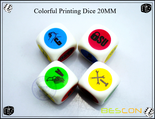 Colorful Dots Printing Dice 20MM-3