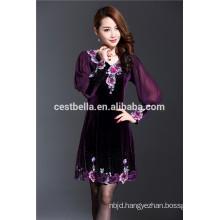 Spring new design elegant women oversize dress Embroidered Overcoat Velvet