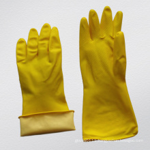 Household Latex Flock Lined Embossed Palm Rubber Glove-5701