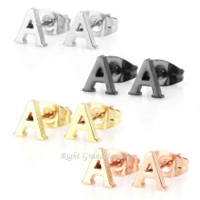 Wholesale 316L Stainless Steel Earrings Gold Rose Gold Alphabet Letter A-Z Stud Earrings For Unisex