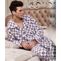 Fashion Printed Velvet Fleece Mens Pajamas Suit