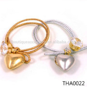 Silver Gold Elastic Jewelry Ponytail Holder Big Large Crystal Rhinestone Metal Heart Hair Tie Rope Ring Accessory Girl Lady Wome