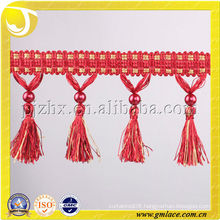 Hot Sale Curtain Tassel Fringe Trimming Fabric Trimming With Pearl