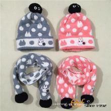 Bufanda hecha punto mullida del sombrero de la moda del diseño de encargo con el logotipo del bordado