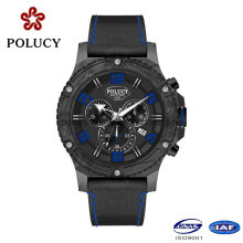 Chronograph Carbon Fiber Watch with Genuine Leather Strap