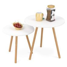 Mesa de centro redonda simple lateral lateral redonda de madera de las mesas de centro de la mejor venta