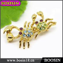 Broche de caranguejo animal / strass broche / broche de ouro