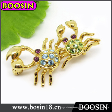 Broche de caranguejo animal / strass broche / broche de ouro