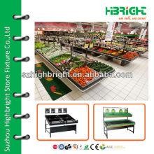Stand de fruits et légumes en acier supermarché