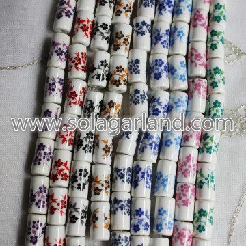 Flower Design Cylinder Ceramic Porcelain Spacer Bead Charms
