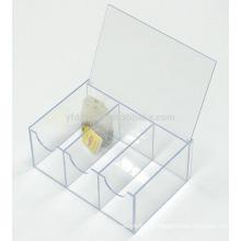 Feito por caixa de empacotamento de chá acrílico transparente transparente