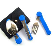3 PCS de pliage coutellerie jeu Camping coutellerie jeu (kinf, fourchette, cuillère)