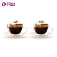 Les ensembles de café de verre de Borosilicate de double mur de cadeau d'Amazone ont placé le thé pour l'expresso de thé de café