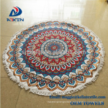 China Supplier Custom Turkish Beach Towel Round with Tassel