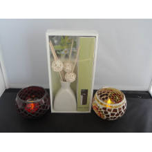Vanilla Aroma Reed Diffuser + Mosaic Candle Holder