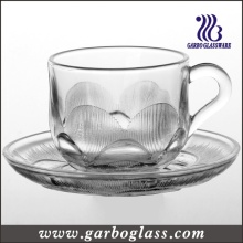 Embossed Leaf Glass Tea Cup & Saucer Set (TZ-GB09D2407SQ)