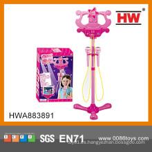Nuevo micrófono de múltiples funciones plástico del juguete de la llegada con el soporte para las muchachas