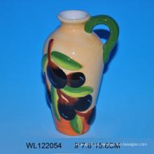 Botella de aceite de cerámica pintada a mano de alta calidad para vajilla