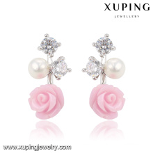 92025 Xuping Fashion Flower Rhodium CZ Diamond Imitation Jewelry Glass Earring with Pearl